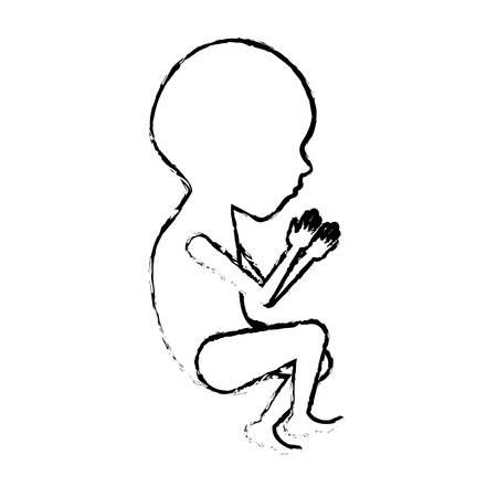 prenatal development: Monochrome blurred silhouette of side view fetal growth a semester vector illustration.