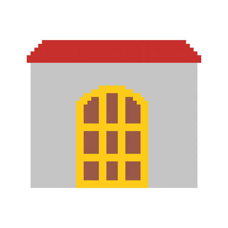 Colorful pixelated house with roof and big door vector illustration.