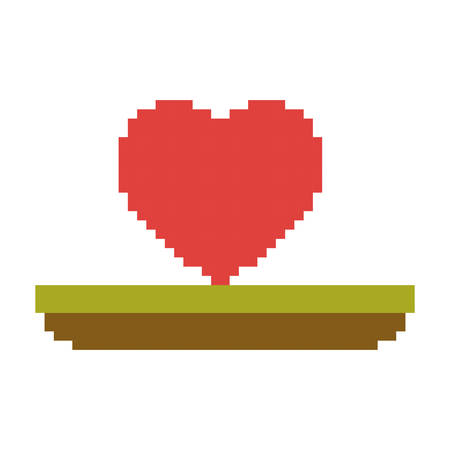 Colorful pixelated heart in meadow vector illustration.