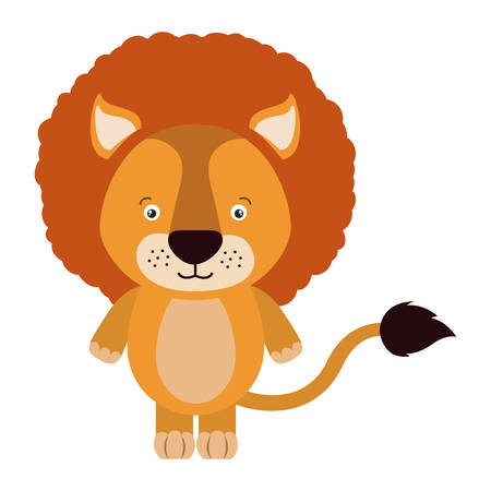 lion tail: white background with colorful caricature cute lion animal vector illustration Illustration