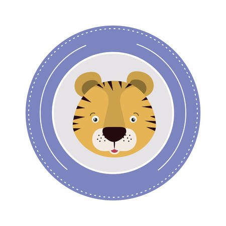 white background with color frame decorative and face tiger cute animal vector illustration