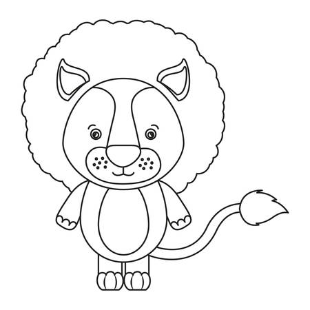 lion tail: white background with silhouette caricature cute lion animal vector illustration