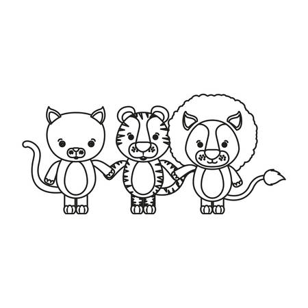 white background with silhouette caricature cat tiger and lion cute animals holding hand vector illustration