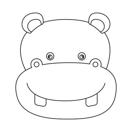 Esquema Cómico Del Hipopótamo Ilustraciones Vectoriales, Clip Art ...