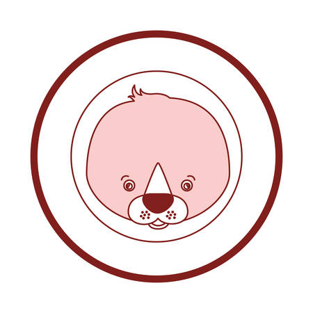 white background with red color silhouette sections of frame decorative and face seal cute animal vector illustration