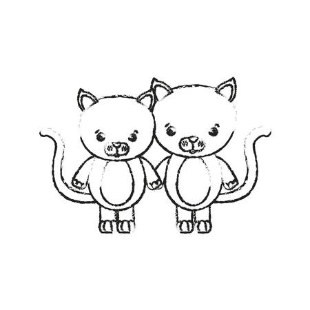blurred silhouette caricature couple cute animal cats vector illustration