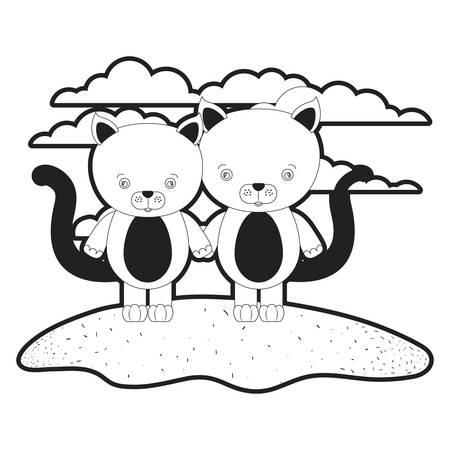 sketch silhouette monochrome scene couple cute cats animals in grass vector illustration