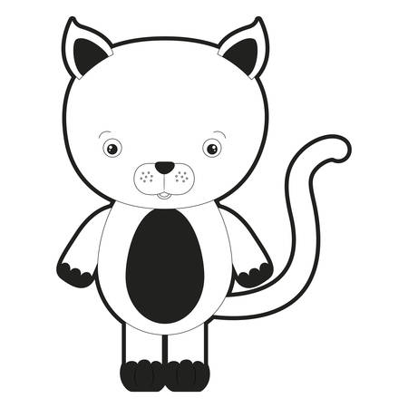 sketch silhouette monochrome caricature cute cat animal vector illustration Illustration