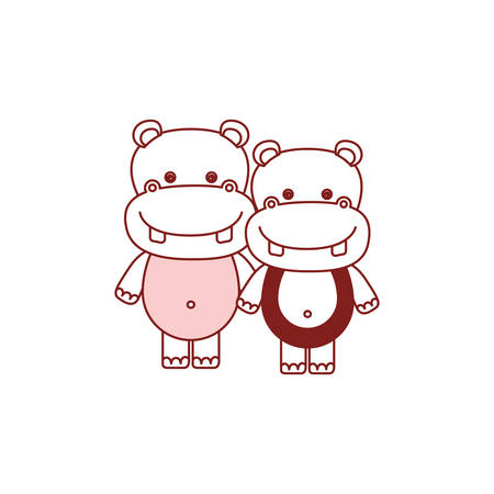 Caricature of cute hippopotamus couple vector illustration