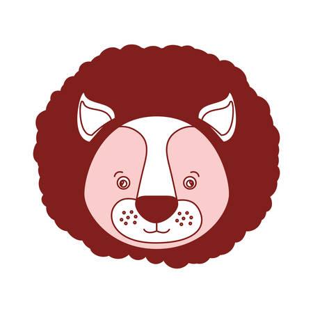 かわいいライオン頭の動物のベクトル図