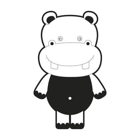 brow: Caricature cute hippopotamus animal vector illustration Illustration
