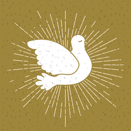 Pigeon peace symbol with linear brightness vector illustration