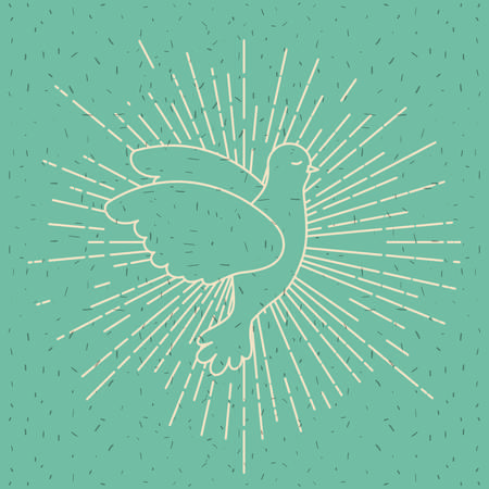 Color background with silhouette side view pigeon peace symbol with linear brightness vector illustration