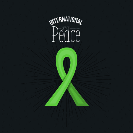 ribbon: Green lace bow symbol with text of international day of peace vector illustration
