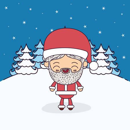 montañas caricatura: Invierno paisaje de fondo con caricatura de cuerpo entero de Santa Claus ilustración vectorial Vectores