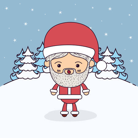 montañas caricatura: winter landscape background with full body caricature of santa claus with surprised expression vector illustration Vectores