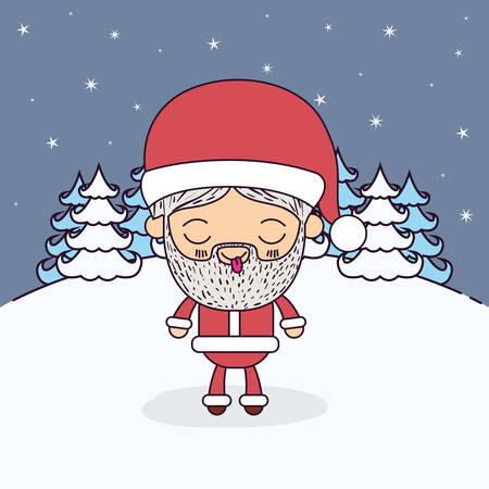 montañas caricatura: Invierno paisaje de fondo con caricatura de cuerpo entero de Santa Claus con los ojos cerrados y la lengua fuera de la tranquilidad expresión ilustración vectorial Vectores