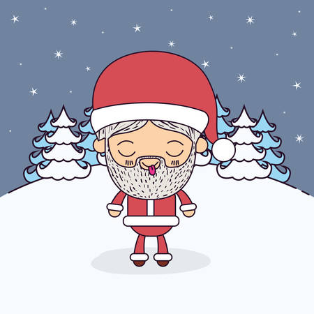 night out: Winter landscape background with full body caricature of santa claus with eyes closed and tongue out tranquility expression vector illustration Illustration