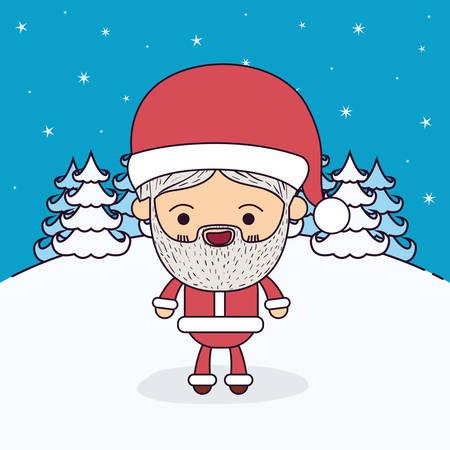 montañas caricatura: Fondo de paisaje de invierno con la caricatura de cuerpo completo de Papá Noel con la ilustración de vector de expresión de felicidad