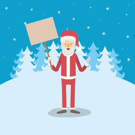 montañas caricatura: Paisaje de invierno azul de fondo con caricatura de cuerpo entero de Santa Claus con una muestra de madera ilustración vectorial cartel