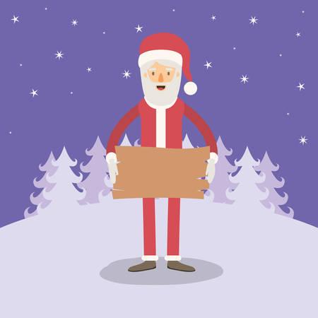 montañas caricatura: Fondo de paisaje de invierno violeta con caricatura de cuerpo completo de Santa Claus con una ilustración de vector de signo de madera