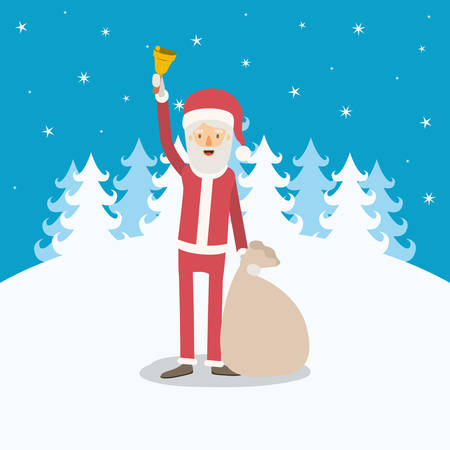 christmas tree illustration: Full body caricature of Santa Claus with bell and bag of gifts vector illustration