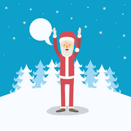 christmas tree illustration: blue winter landscape background with full body caricature of santa claus with dialogue box and hands up vector illustration