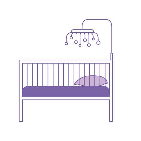 purple silhouette of baby crib with wood railing vector illustration Illusztráció