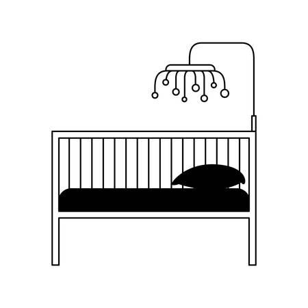 bedspread: black silhouette of baby crib with wood railing vector illustration