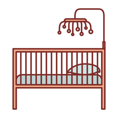 color silhouette with thick contour of baby crib with wood railing vector illustration