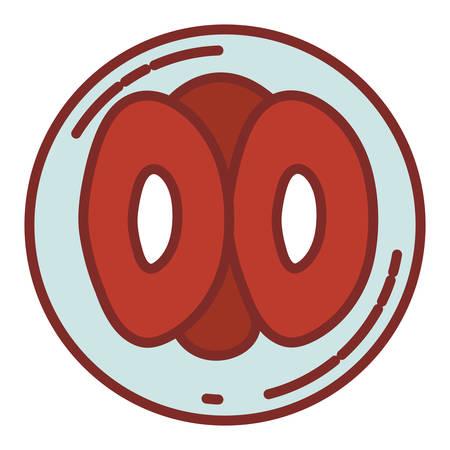Farbe Silhouette mit dicken Kontur der Vorderansicht Teilung der Ovulation Vektor-Illustration Vektorgrafik