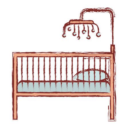 ベビーベッド木製手すりベクトル イラストの輪郭と色シルエット  イラスト・ベクター素材