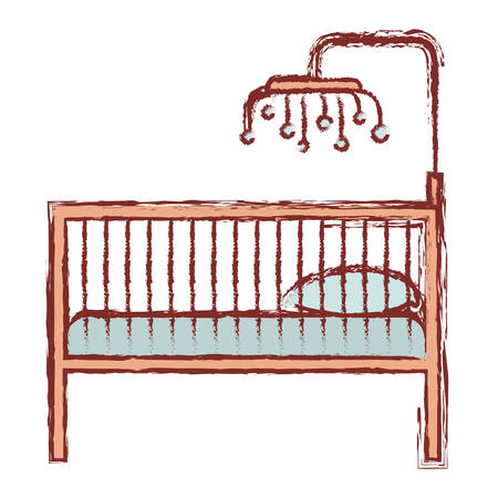 color silhouette with blurred contour of baby crib with wood railing vector illustration 向量圖像