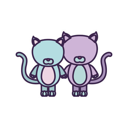 white background with light color faceless caricature couple cute animal cats vector illustration Illustration