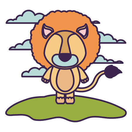 brow: white background with light color scene fasceless caricature lion animal in grass vector illustration