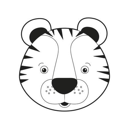 sketch silhouette monochrome caricature face tiger cute animal vector illustration