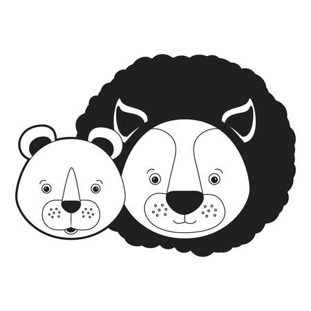 sketch silhouette monochrome caricature face couple cute lion and lioness animals vector illustration