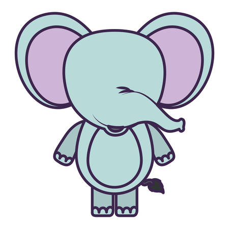 brow: white background with light color faceless caricature cute elephant animal vector illustration