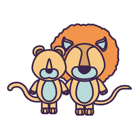 lion tail: white background with light color faceless caricature couple cute lion and lioness animals vector illustration Illustration