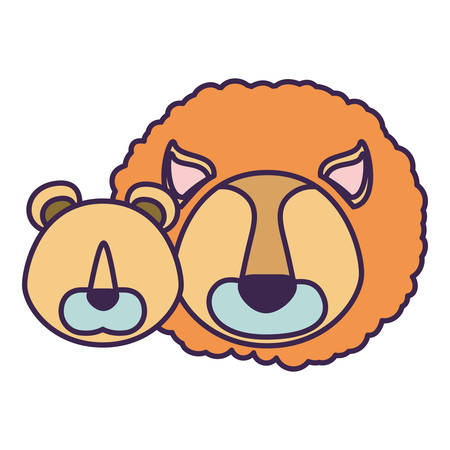 white background with light color caricature faceless couple lion and lioness animals vector illustration