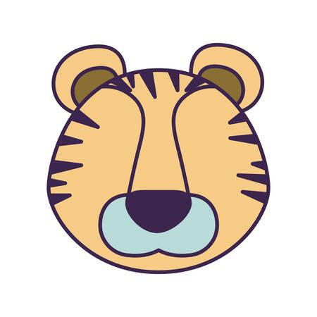 光で白い背景色風刺漫画フェースレス トラ動物のベクトル図  イラスト・ベクター素材