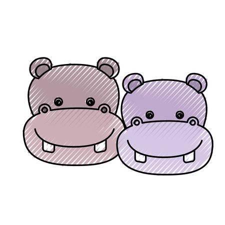 brow: color crayon silhouette caricature face couple cute animal hippopotamus vector illustration