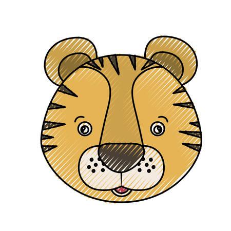 色のクレヨン シルエット似顔絵顔タイガーかわいい動物のベクトル図