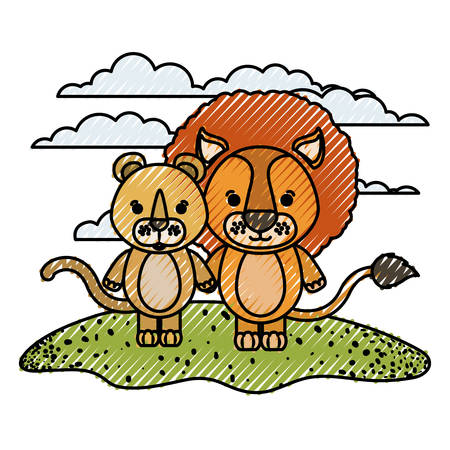 color crayon silhouette scene couple caricature lion and lioness animals in grass vector illustration Illustration