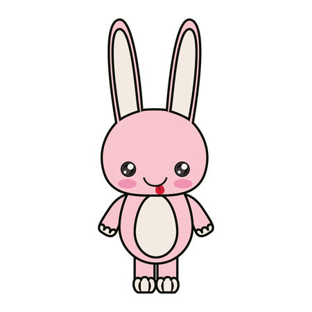 anime young: colorful caricature cute expression and tongue out of rabbit animal vector illustration