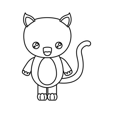 sketch silhouette of caricature cute surprised expression of cat animal vector illustration Illustration