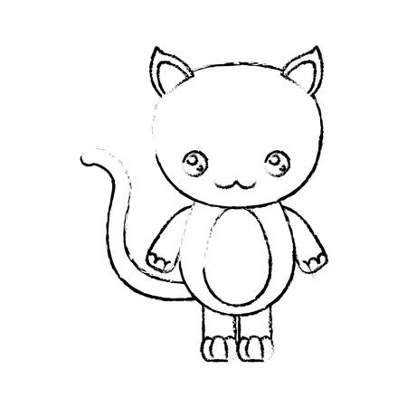 blurred silhouette of caricature cute happiness expression of cat animal vector illustration Illustration