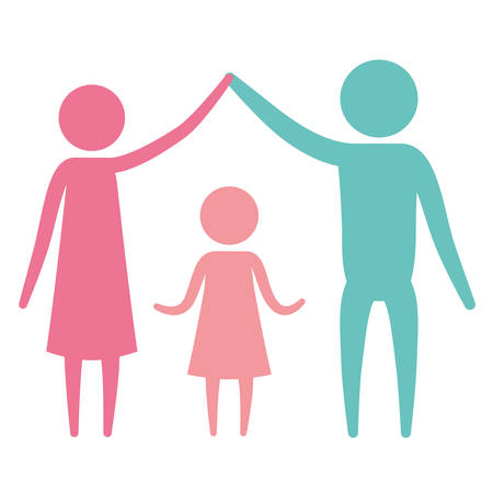 them: Color silhouette set pictogram parents holding hands up an girl in the middle of them vector illustration Illustration