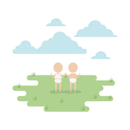 color sky landscape and grass with silhouette pictogram couple little babys vector illustration