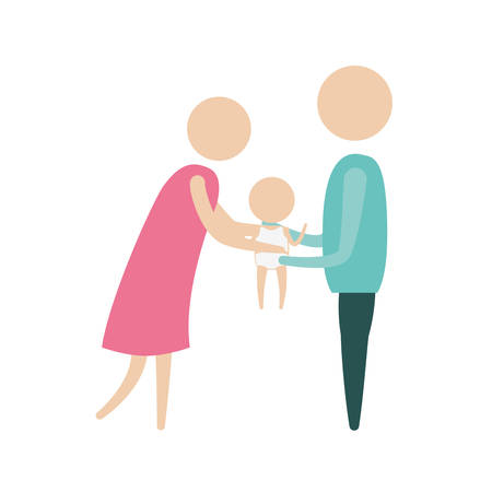color silhouette pictogram woman and man holding a baby in her hands with clothes vector illustration